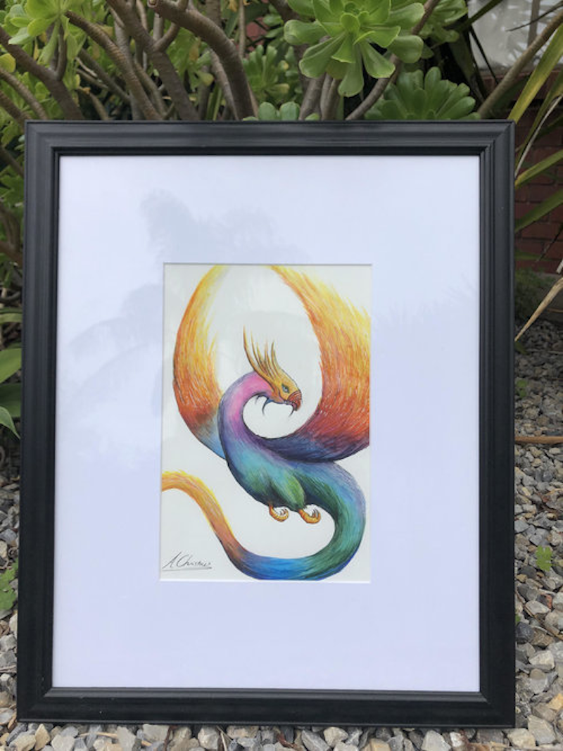 (CreativeWork) Thrasys Dragon Bird by Anthony Christou. Watercolour Paint. Shop online at Bluethumb.