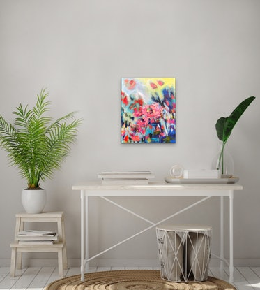 (CreativeWork) Hello Sunshine - Abstract Flower Series 2019 by Jen Shewring. Acrylic Paint. Shop online at Bluethumb.