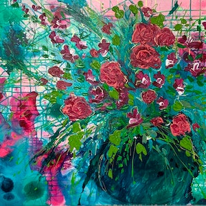 (CreativeWork) Blushing Emerald by Tracy Stephenson. acrylic-painting. Shop online at Bluethumb.