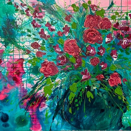 (CreativeWork) Blushing Emerald by Tracy Stephenson. Acrylic Paint. Shop online at Bluethumb.