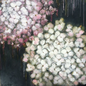 (CreativeWork) Raspberry & Coconut Parfait Petals by Lisa Wisse-Robinson. mixed-media. Shop online at Bluethumb.