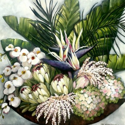(CreativeWork) Tropical Passionfruit Spritz by Lisa Wisse-Robinson. Mixed Media. Shop online at Bluethumb.