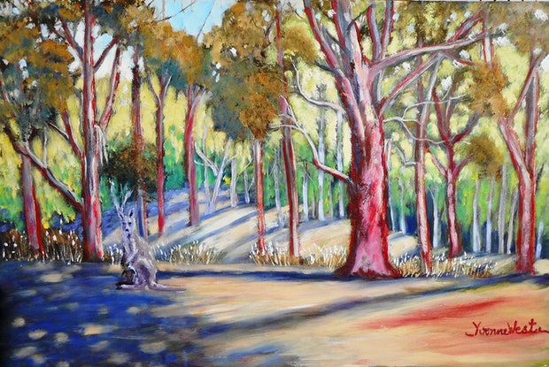 (CreativeWork) Euroka Clearing-Glenbrook by Yvonne West. Oil Paint. Shop online at Bluethumb.