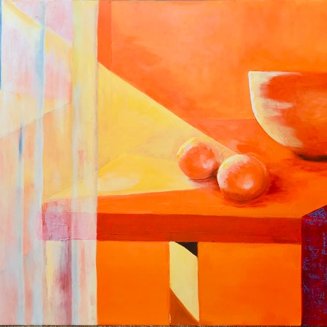 (CreativeWork) Orange Still Life by Joanna Wakefield. Acrylic Paint. Shop online at Bluethumb.