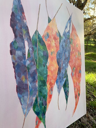 (CreativeWork) Silhouette   //   Australian Gum Leaf Oil Painting by Eve Sellars. Oil Paint. Shop online at Bluethumb.