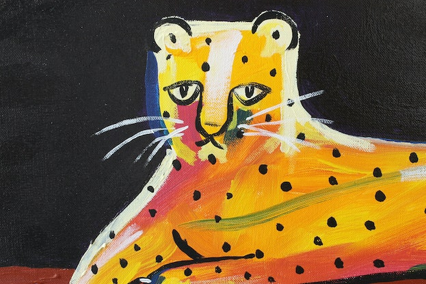 (CreativeWork) Lazy Leopard by Helen Shadforth. Acrylic Paint. Shop online at Bluethumb.