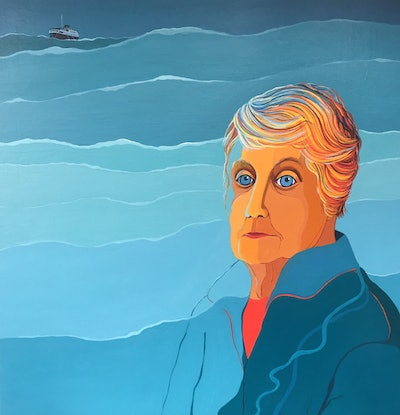 Woman's face merges with green sea, ship in background