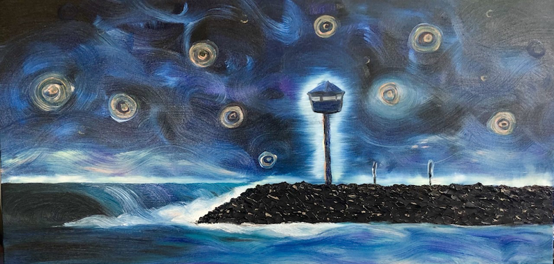(CreativeWork) Starry Night on a City Beach by Leanne Selkirk. Oil Paint. Shop online at Bluethumb.