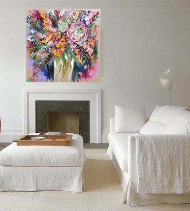 (CreativeWork) King protea and banksia  by Amanda Brooks. Acrylic Paint. Shop online at Bluethumb.