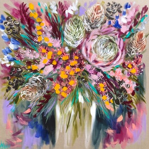 (CreativeWork) King protea and banksia  by Amanda Brooks. acrylic-painting. Shop online at Bluethumb.