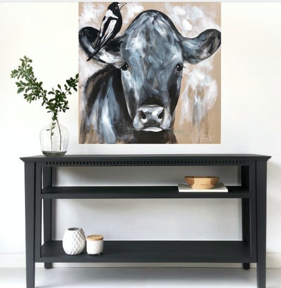 (CreativeWork) young Angus and magpie  by Amanda Brooks. Acrylic Paint. Shop online at Bluethumb.