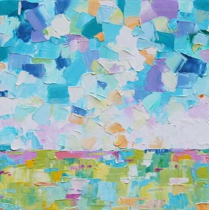 (CreativeWork) Abstract Landscape 5 by Eve Izzett. Oil Paint. Shop online at Bluethumb.