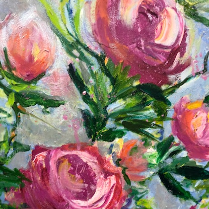 (CreativeWork) Peonies, King of Flowers by Sue Burton. Acrylic Paint. Shop online at Bluethumb.