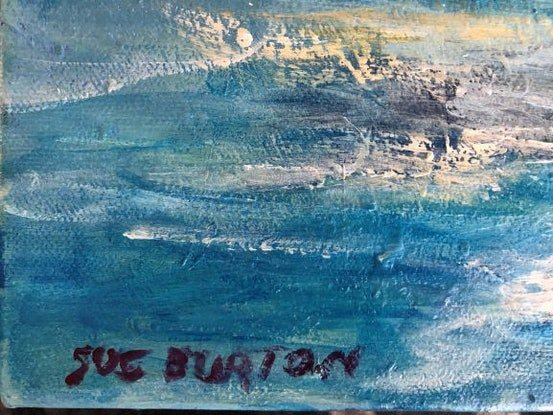 (CreativeWork) Gold Sky, Blue Sea by Sue Burton. Acrylic Paint. Shop online at Bluethumb.