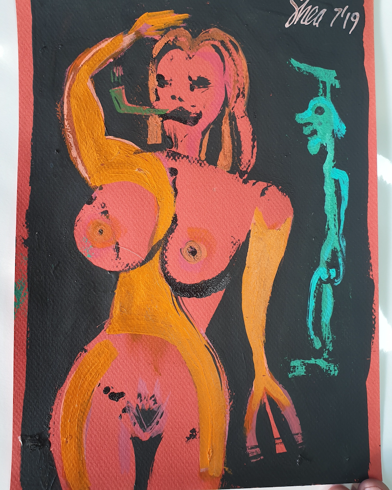 (CreativeWork) Lust at 30 by Shea Peterson. Acrylic Paint. Shop online at Bluethumb.