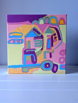 (CreativeWork) Beach Huts  by Karen Lee. Acrylic Paint. Shop online at Bluethumb.
