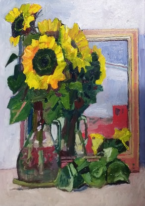 (CreativeWork) Sunflowers Study by Jamie Congdon. Oil Paint. Shop online at Bluethumb.