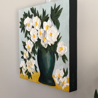 (CreativeWork) Camellia Cascade by Selenia Costanzo. Acrylic Paint. Shop online at Bluethumb.