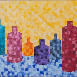 (CreativeWork) Rainbow Bottles by Natalie Spain. arcylic-painting. Shop online at Bluethumb.