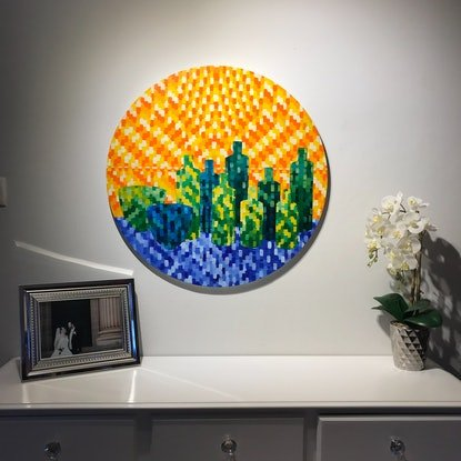 (CreativeWork) Emerald City by Natalie Spain. Acrylic Paint. Shop online at Bluethumb.