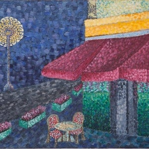(CreativeWork) Empty Village by Natalie Spain. arcylic-painting. Shop online at Bluethumb.