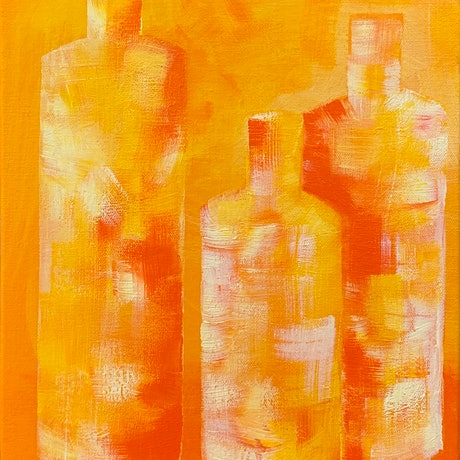 (CreativeWork) Orange Bottles by Natalie Spain. Acrylic Paint. Shop online at Bluethumb.