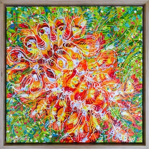 (CreativeWork) Blood Orange Grevillea (Framed) by Tina Dinte. arcylic-painting. Shop online at Bluethumb.
