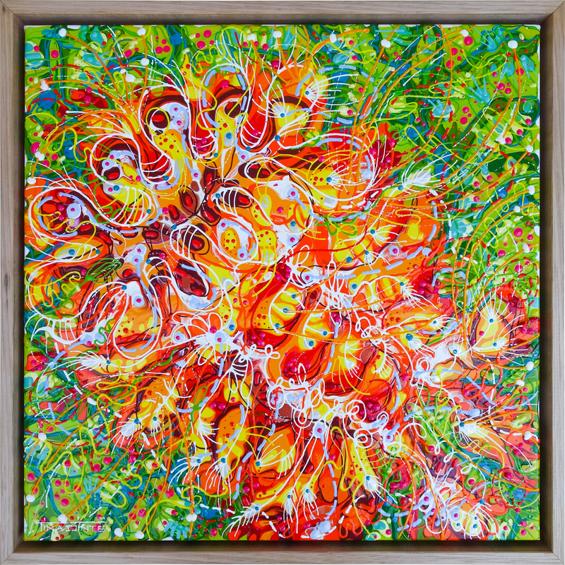 (CreativeWork) Blood Orange Grevillea (Framed) by Tina Dinte. Acrylic Paint. Shop online at Bluethumb.