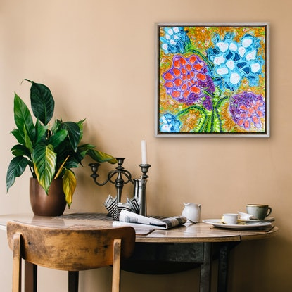 (CreativeWork) Lotus Seed Pods (Framed) by Tina Dinte. Acrylic Paint. Shop online at Bluethumb.