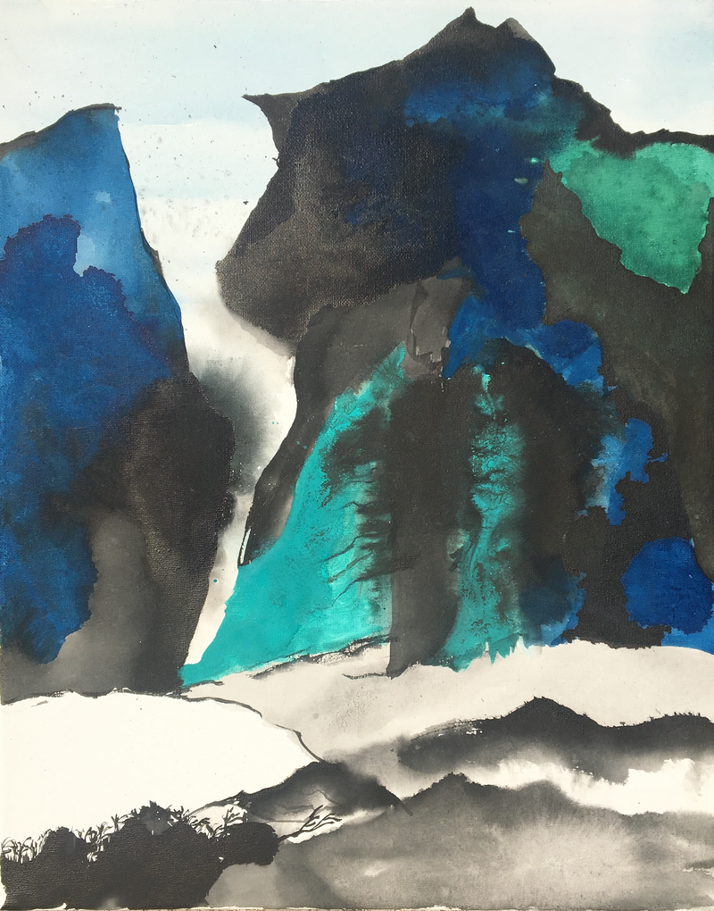 (CreativeWork) Blue & Green Landscape - Mountains-5 by Nora McLean. Watercolour Paint. Shop online at Bluethumb.