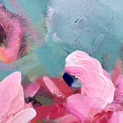 (CreativeWork) Spring Smile - Abstract Flower Series 2019 by Jen Shewring. Acrylic Paint. Shop online at Bluethumb.