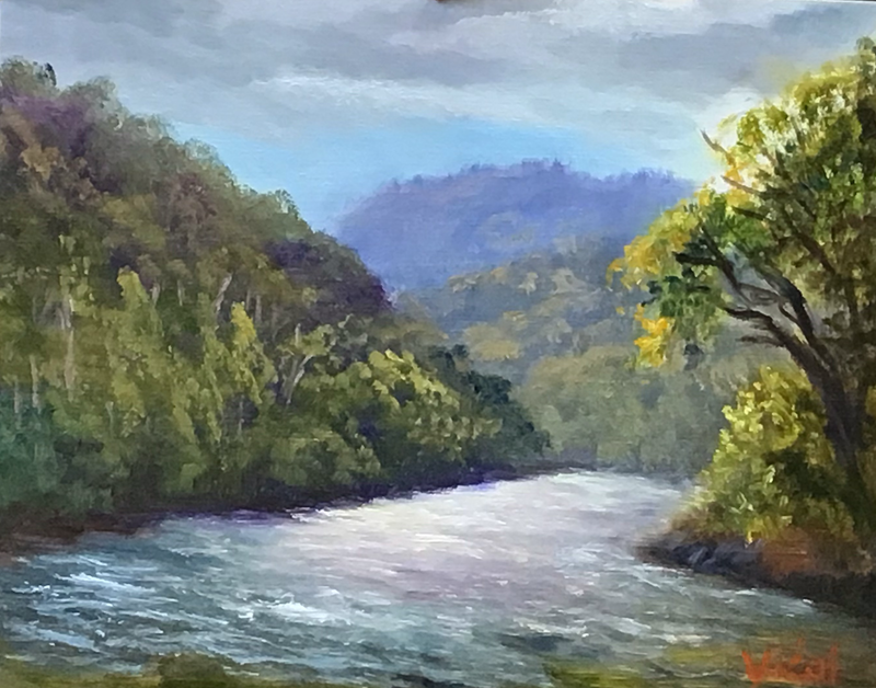 (CreativeWork) Near lake Placid, QLD - Oil on linen board by Christopher Vidal. oil-painting. Shop online at Bluethumb.
