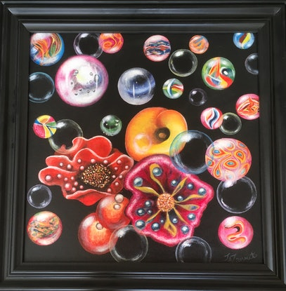 (CreativeWork) Bubbles by Jenni Zammit. Acrylic Paint. Shop online at Bluethumb.