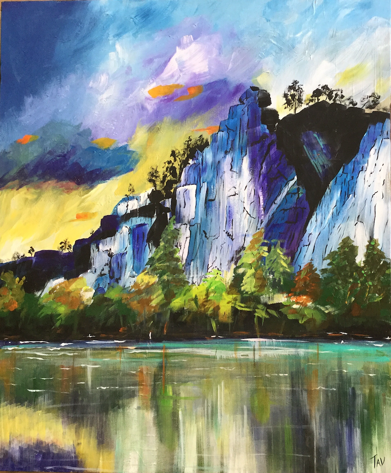 (CreativeWork) Lakeside Reflections by Teresa Verney. Acrylic Paint. Shop online at Bluethumb.
