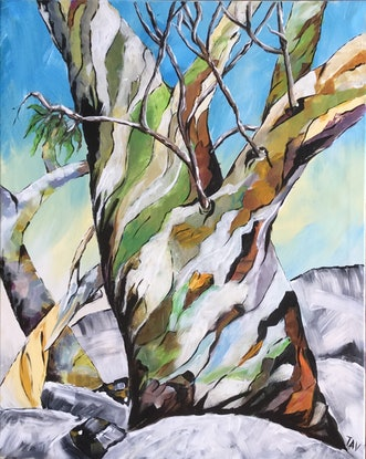 (CreativeWork) Ghost Gums by Teresa Verney. Acrylic Paint. Shop online at Bluethumb.