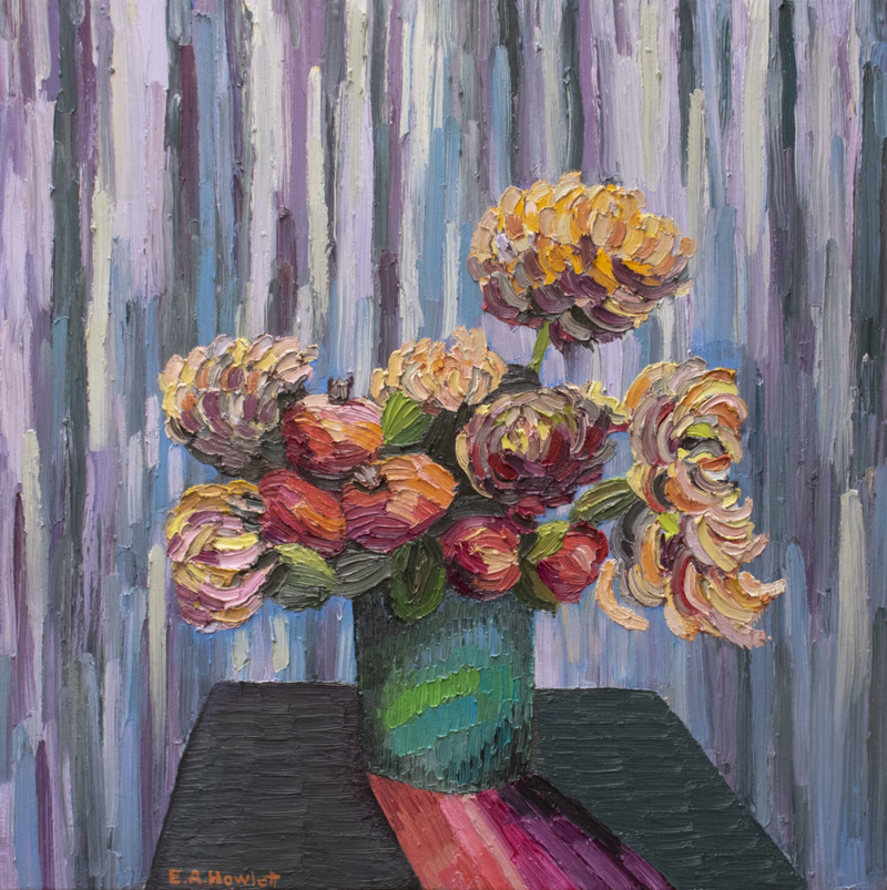 (CreativeWork) The Purple Curtain with Pomegranates  by Elisabeth Howlett. Oil Paint. Shop online at Bluethumb.