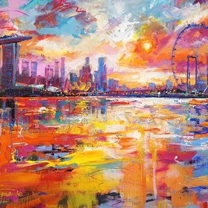 (CreativeWork) Singapore Skyline by Jos Coufreur. Acrylic Paint. Shop online at Bluethumb.