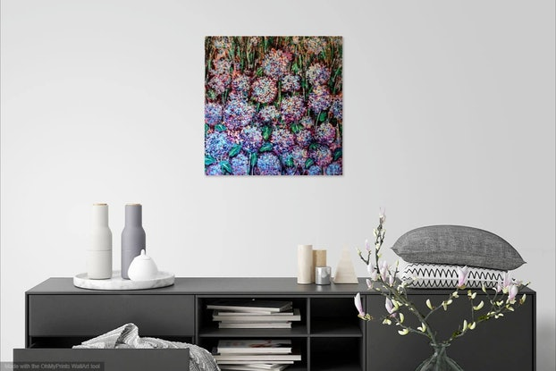 (CreativeWork) Hydrangea flower garden by Eve Jorgensen. Acrylic Paint. Shop online at Bluethumb.