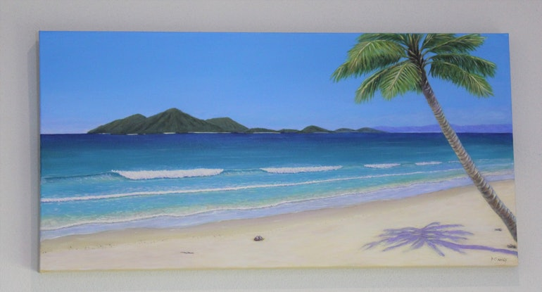 (CreativeWork) Mission Beach by Deb Clancy. Acrylic Paint. Shop online at Bluethumb.