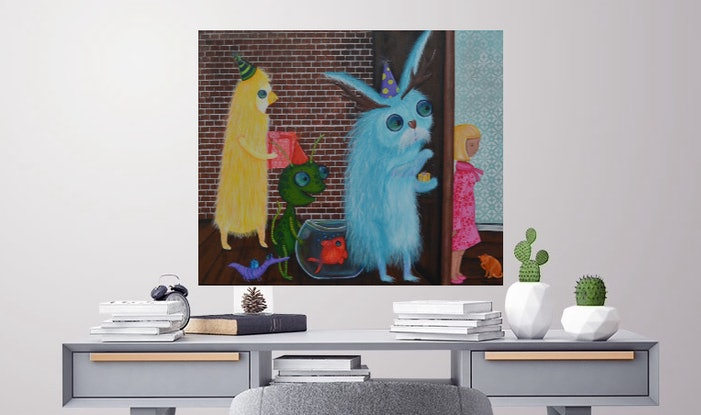 (CreativeWork) ORIGINAL Artwork A knock at the Door from the Monster Series by Tanya Smith. Acrylic Paint. Shop online at Bluethumb.