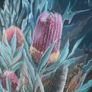 (CreativeWork)  Blooming Banksia  by Kiya Kalem. mixed-media. Shop online at Bluethumb.