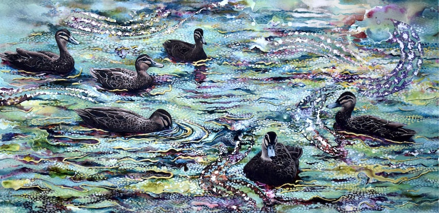 (CreativeWork) The Spirit of Ducks by Bronwyn Doherty. Acrylic Paint. Shop online at Bluethumb.