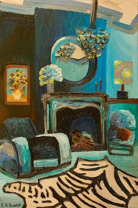 (CreativeWork) The Prussian Room  by Elisabeth Howlett. Oil Paint. Shop online at Bluethumb.