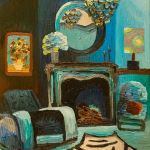 (CreativeWork) The Prussian Room  by Elisabeth Howlett. oil-painting. Shop online at Bluethumb.