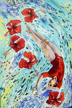 (CreativeWork) Floating with Red Hibiscus by Bronwyn Doherty. Acrylic Paint. Shop online at Bluethumb.