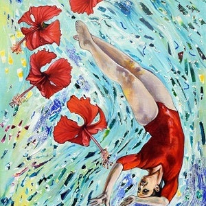 (CreativeWork) Floating with Red Hibiscus by Bronwyn Doherty. arcylic-painting. Shop online at Bluethumb.