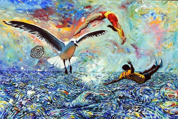 (CreativeWork) Day Dreaming with Seagull by Bronwyn Doherty. Acrylic Paint. Shop online at Bluethumb.