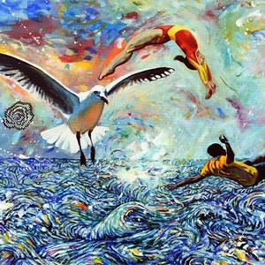 (CreativeWork) Day Dreaming with Seagull by Bronwyn Doherty. arcylic-painting. Shop online at Bluethumb.