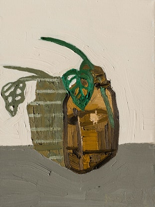 (CreativeWork) Monstera in an Amber Bottle by Katherine Warburton. Oil Paint. Shop online at Bluethumb.