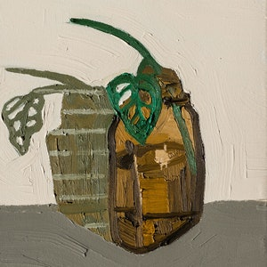 (CreativeWork) Monstera in an Amber Bottle by Katherine Warburton. oil-painting. Shop online at Bluethumb.